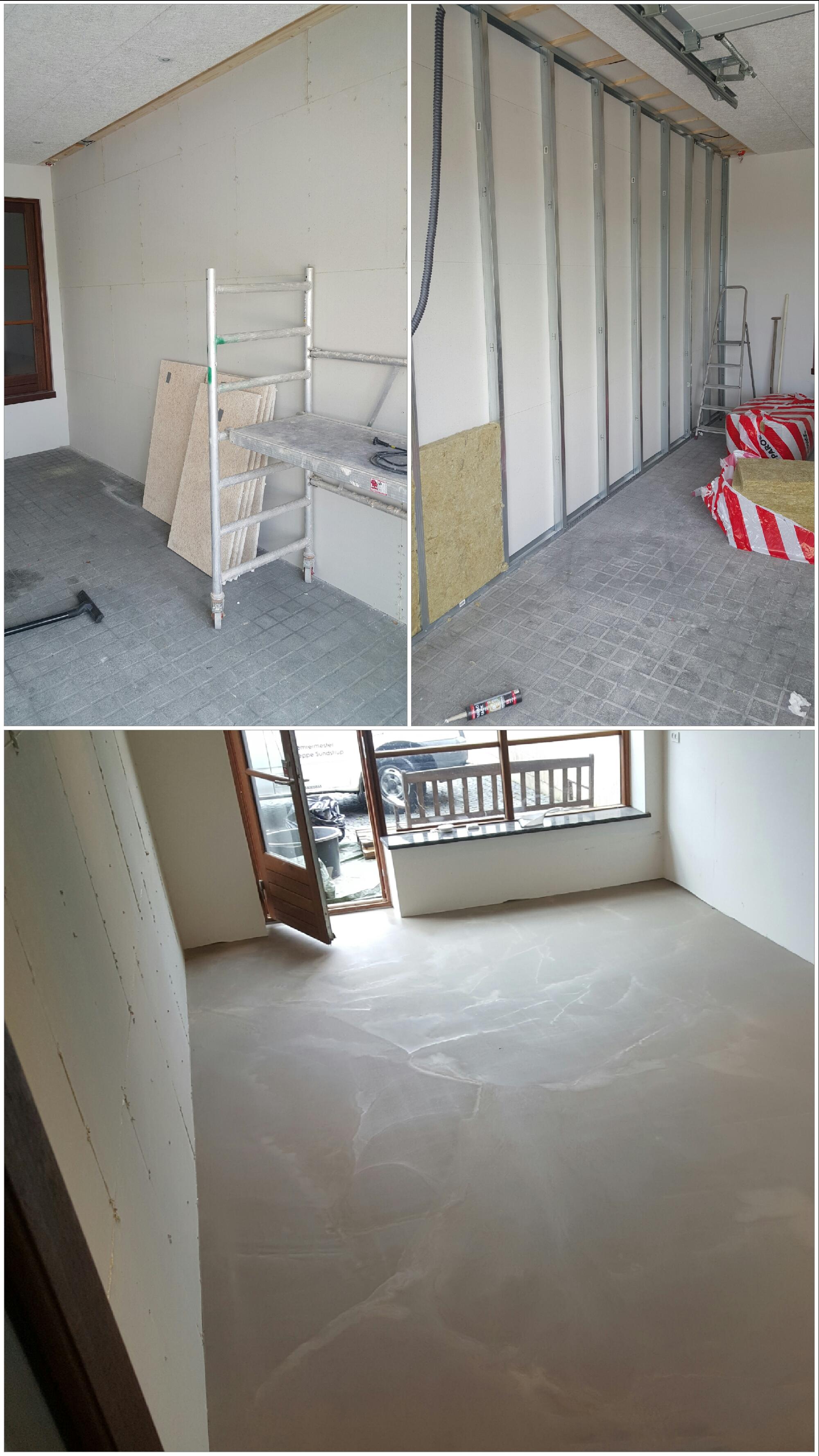 Opsætning af fermacell fibergips højvæg, afretning af gulv ved brug af flydespartels niveleringen og efterfølgende lægning af marine plank med afsluttende lister med mere.